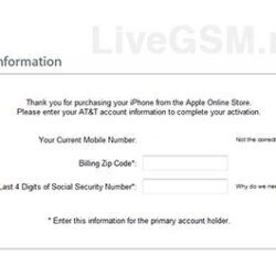 Servicio de Activacion SSN & Codigo ZIP para iPhone
