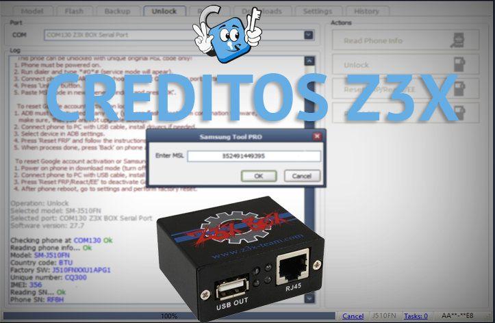 Creditos Z3X para Unlock via Codigo MSL